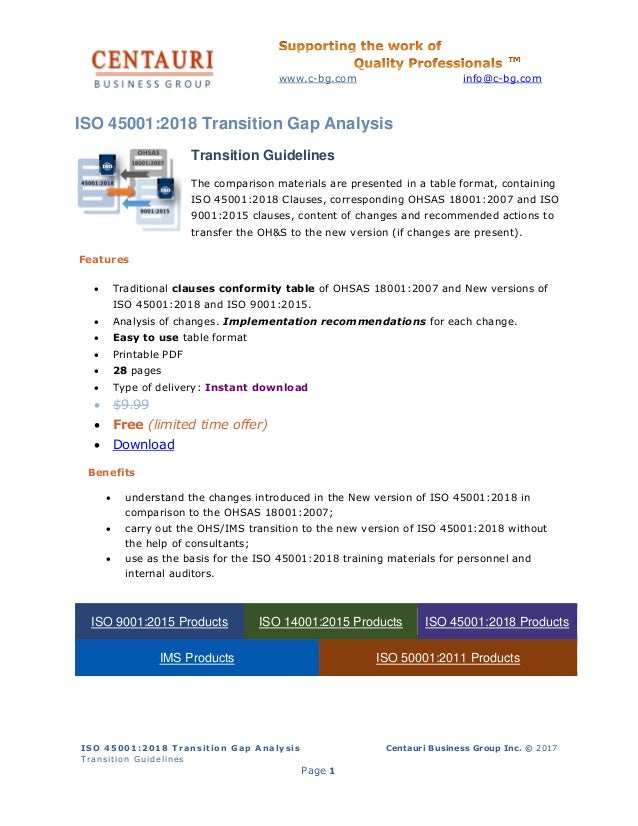 ISO 45001:2018 Gap analysis