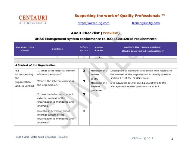 ISO 45001:2018 Audit checklist (preview)