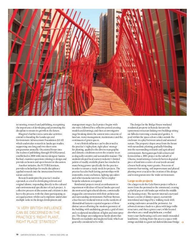 18 GARDEN DESIGN JOURNAL www.sgd.org.uk18 GARDEN DESIGN JOURNAL www.sgd.org.uk in tutoring, research and publishing, recog...