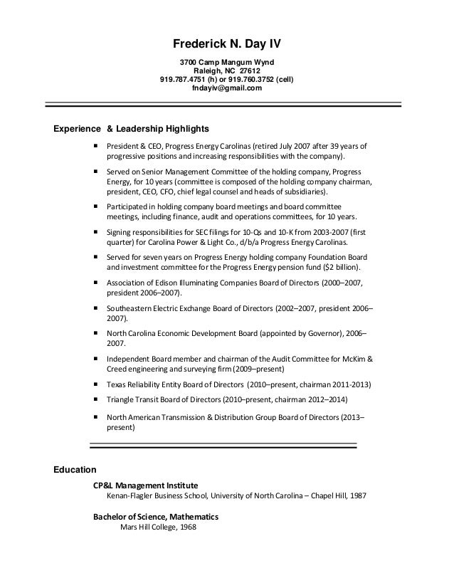 Fred Day Resume