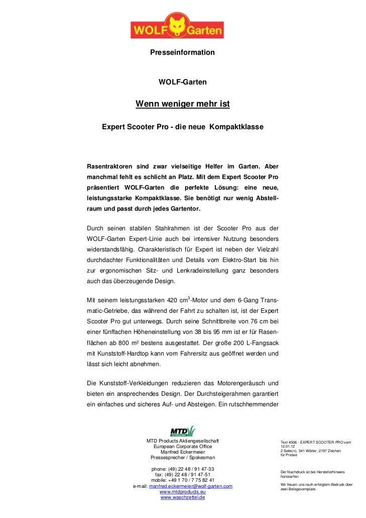 Presseinformation                          WOLF-Garten                 Wenn weniger mehr ist     Expert Scooter Pro - die ...