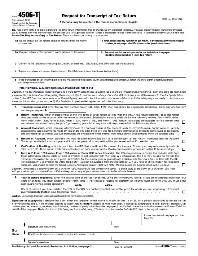 4506 t request-for_transcript_of_tax_return_pnc short sale