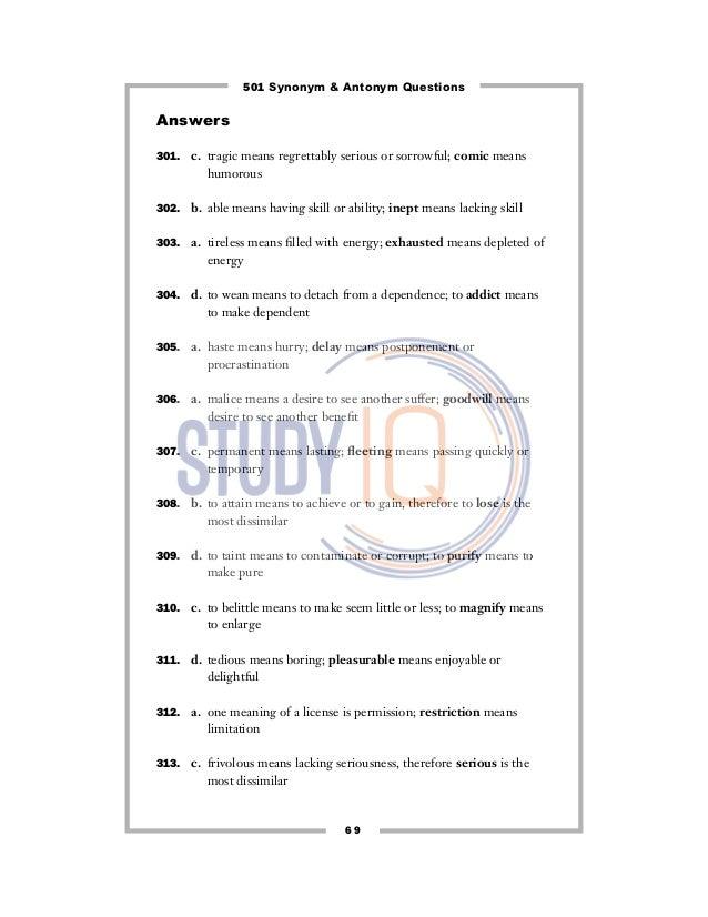 Synonym Antonym Questions 72