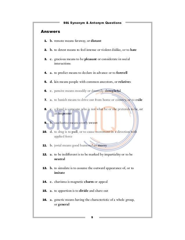 synonyms and antonyms questions pdf