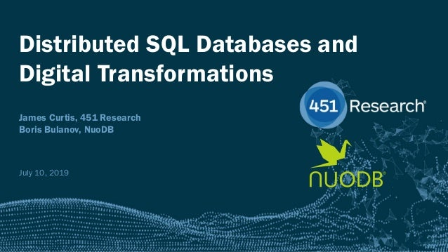 451RESEARCH.COM ©2018 451 Research. All Rights Reserved. Distributed SQL Databases and Digital Transformations James Curti...