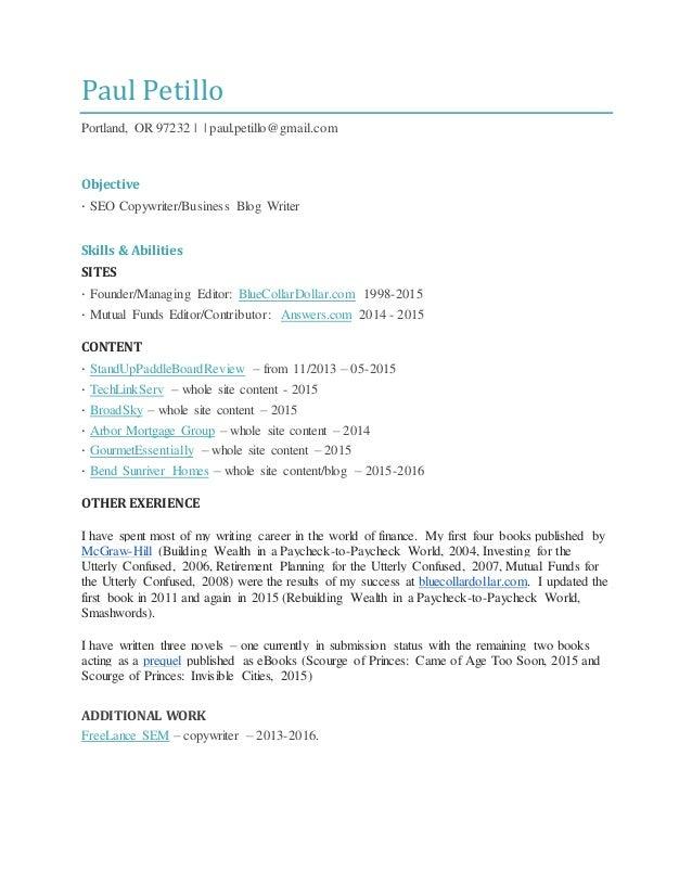 Paul Petillo - SEO copywriter resume