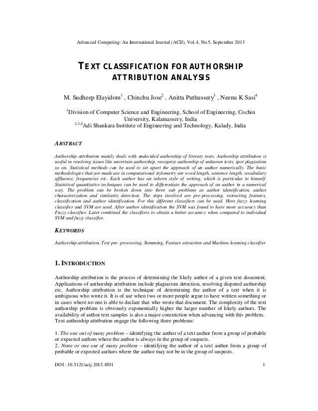 Advanced Computing: An International Journal (ACIJ), Vol.4, No.5, September 2013 DOI : 10.5121/acij.2013.4501 1 TEXT CLASS...