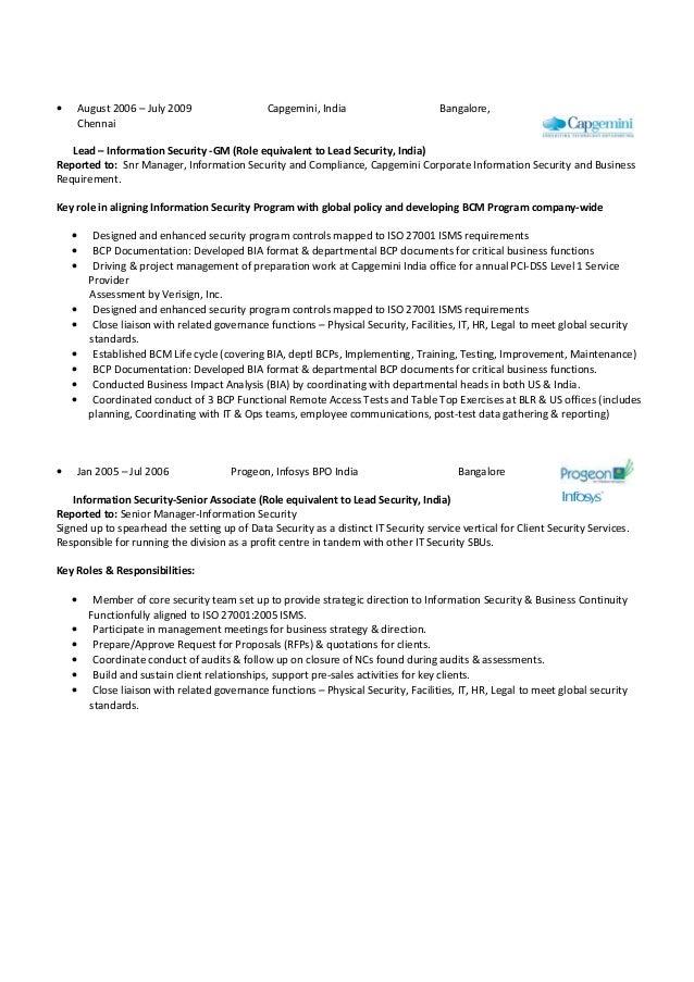Resume Format For Capgemini