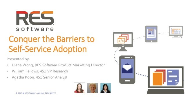 © 2015 RES SOFTWARE – ALL RIGHTS RESERVED Conquer the Barriers to Self-Service Adoption Presented by • Diana Wong, RES Sof...