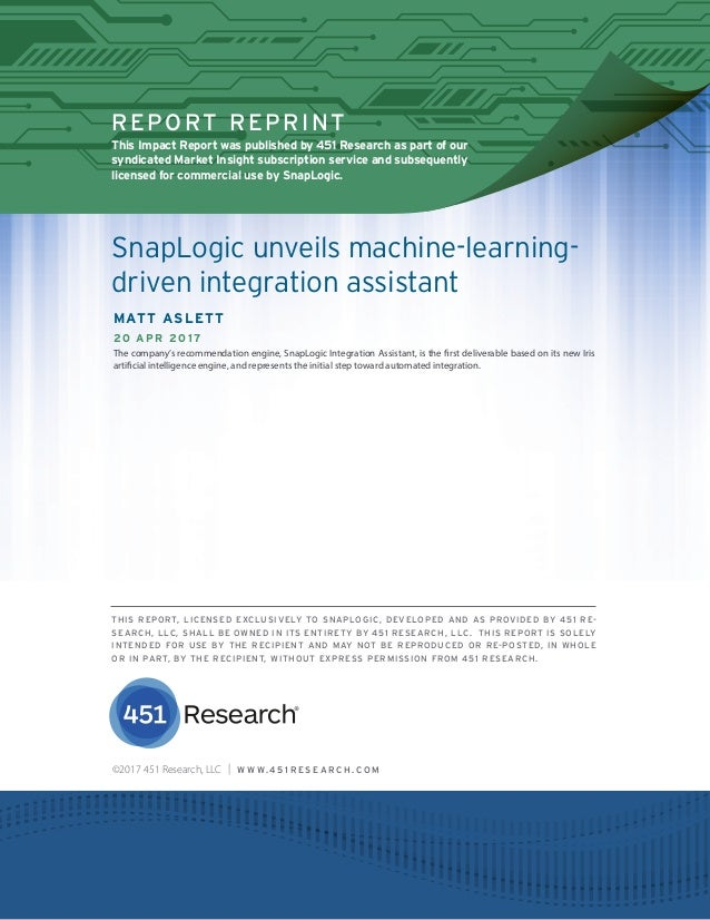451 RESEARCH REPRINT REPORT REPRINT This Impact Report was published by 451 Research as part of our syndicated Market Insi...