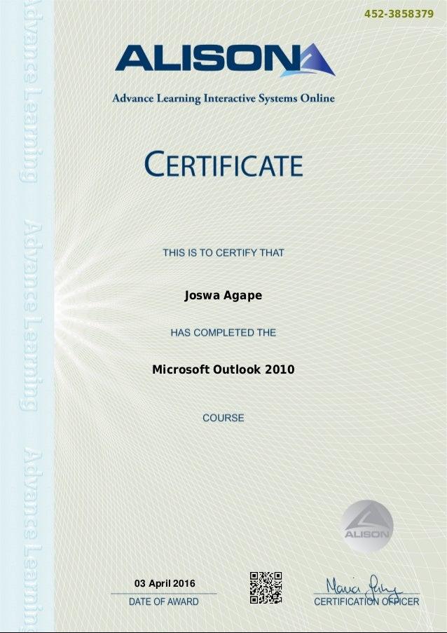 Microsoft Outlook 2010 Certificate