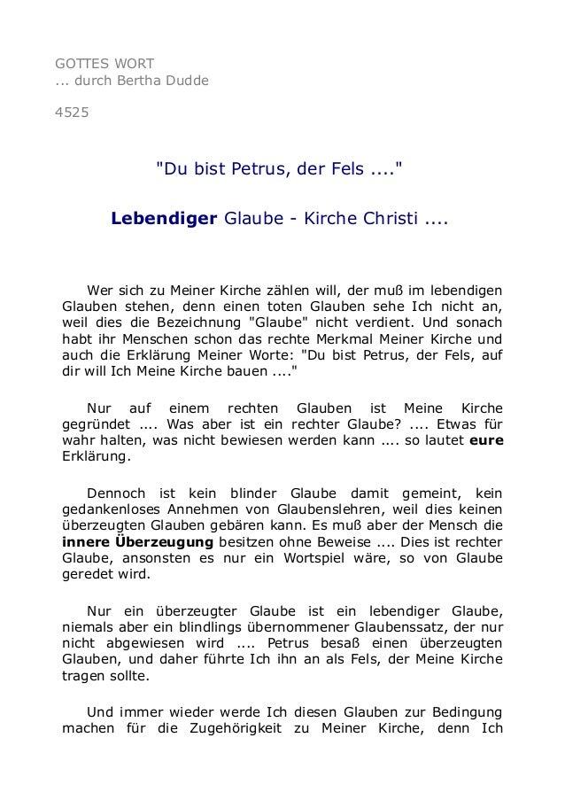 "GOTTES WORT ... durch Bertha Dudde 4525 ""Du bist Petrus, der Fels ...."" Lebendiger Glaube - Kirche Christi .... Wer sich z..."
