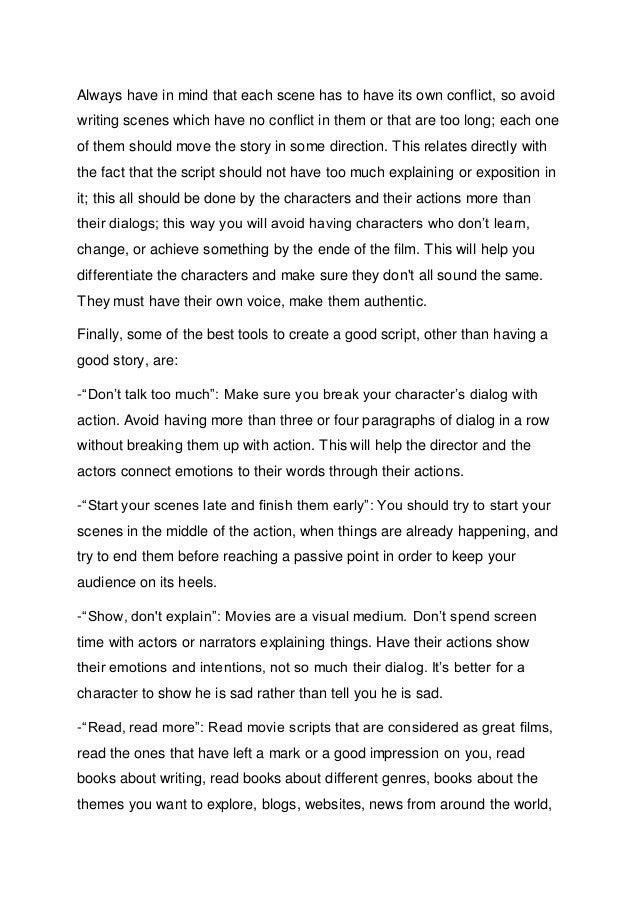 screenplay description examples