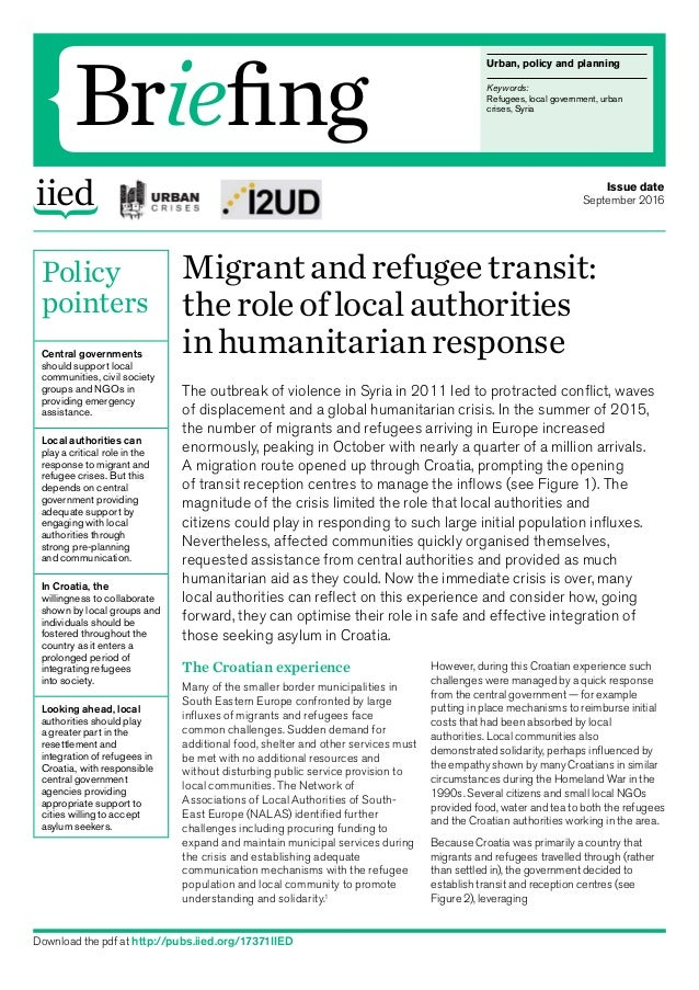 Urban, policy andplanning Keywords: Refugees, local government, urban crises, Syria Briefing Policy pointers Central gove...