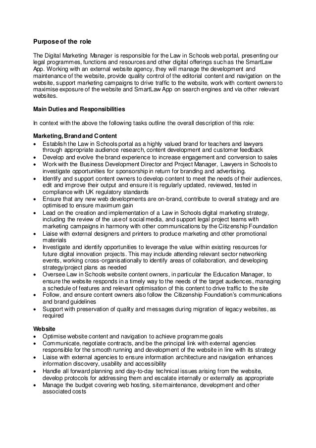 Digital Marketing Manager  Job Description And Person Specification