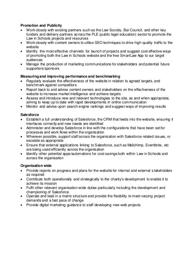 Digital Marketing Manager - Job Description and Person Specification