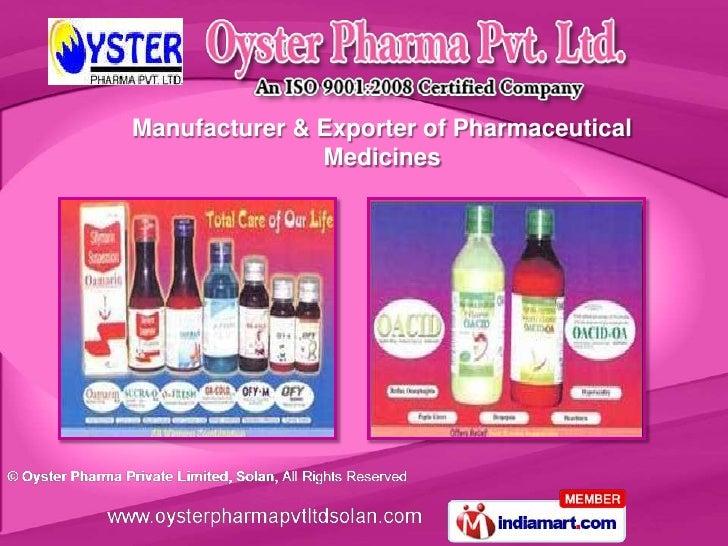 Manufacturer & Exporter of Pharmaceutical               Medicines