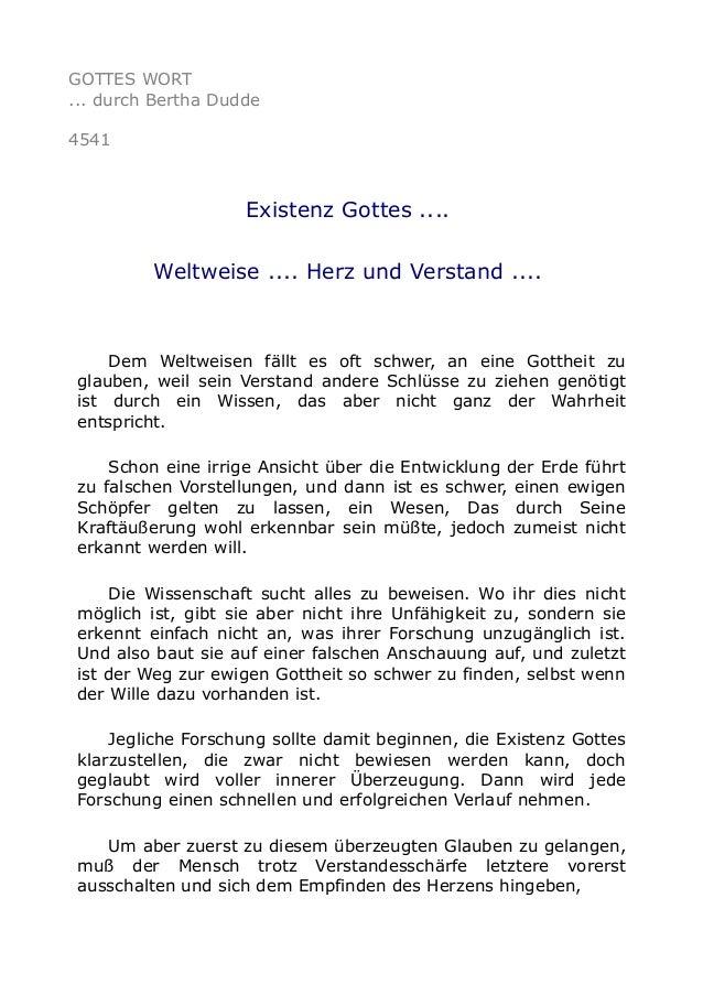 GOTTES WORT ... durch Bertha Dudde 4541 Existenz Gottes .... Weltweise .... Herz und Verstand .... Dem Weltweisen fällt es...