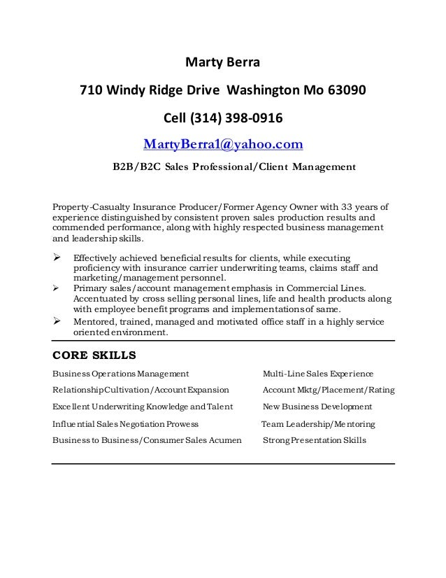 Marty Berra 710 Windy Ridge Drive Washington Mo 63090 Cell (314) 398 0916  ...  Resume Leadership Skills