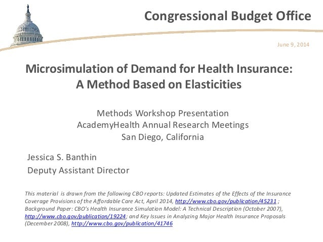Congressional Budget Office Microsimulation of Demand for Health Insurance: A Method Based on Elasticities Methods Worksho...