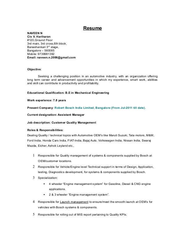resume naveen n co v hariharan 120ground floor 3rd main