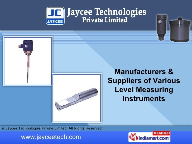 Manufacturers & Suppliers of Various Level Measuring Instruments