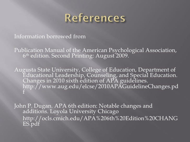 apa 6th edition rh slideshare net apa publication manual 6th edition second printing Literature Review Example APA 6th Edition