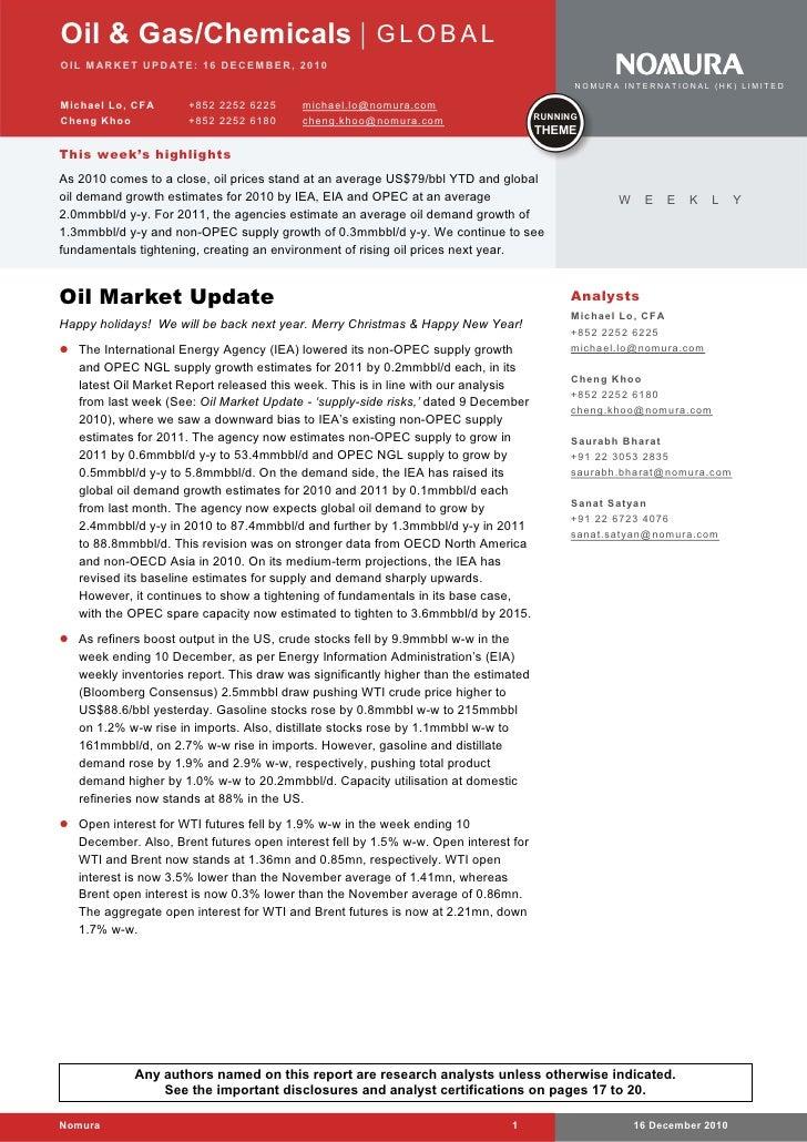 Oil & Gas/Chemicals   G L O B A LOI L M AR K E T UP D AT E : 16 DE CEM BE R, 201 0                                        ...