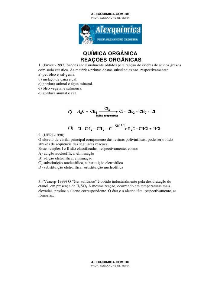 4549621 quimica-organica-reacoes-organicas-50-questoes
