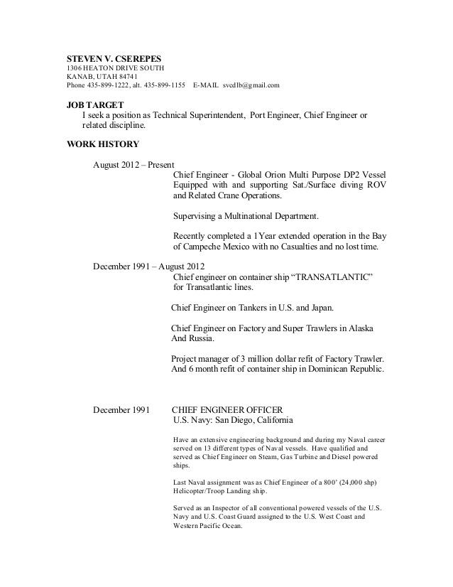 Merchant Marine Engineer Sample Resume] Merchant Marine ...