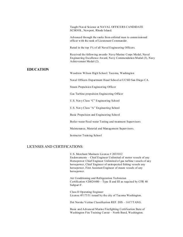 chief engineer resume