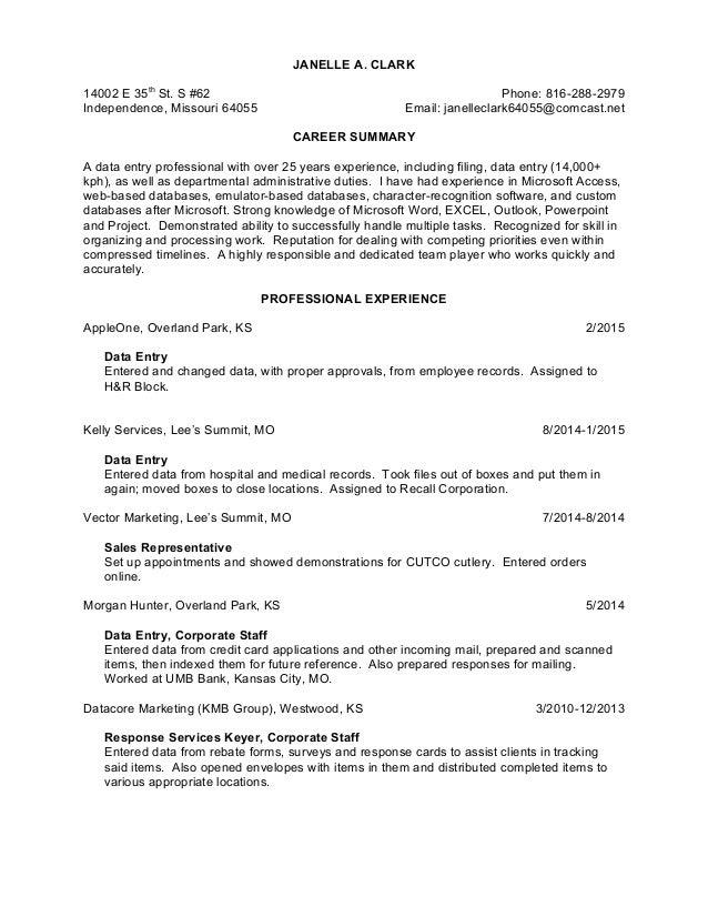 Jac Data Entry Resume