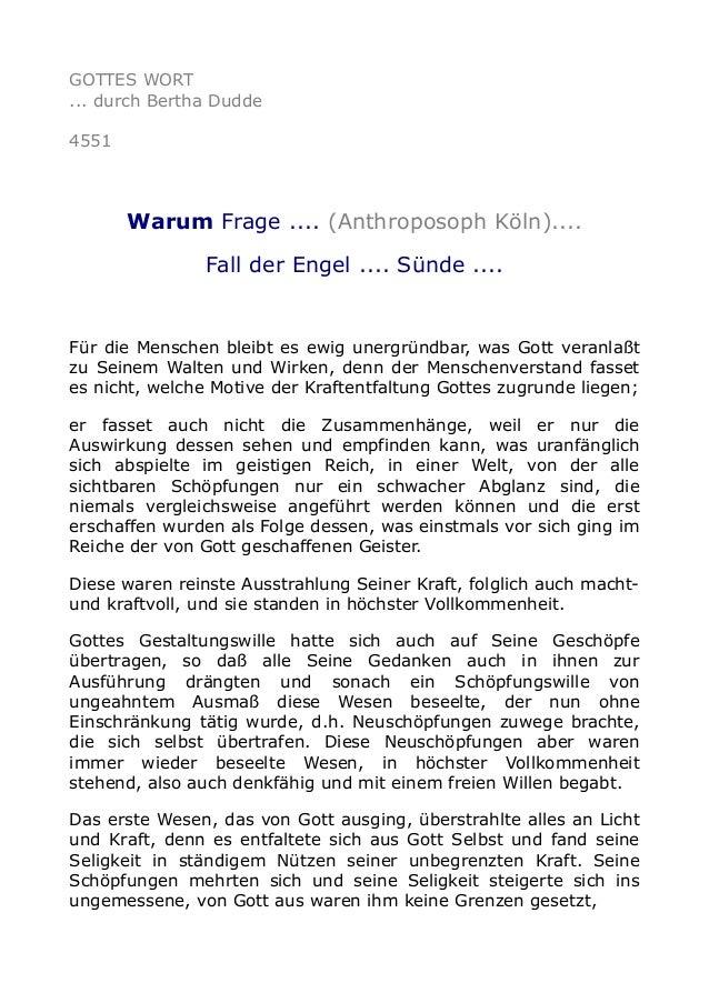 GOTTES WORT ... durch Bertha Dudde 4551 Warum Frage .... (Anthroposoph Köln).... Fall der Engel .... Sünde .... Für die Me...