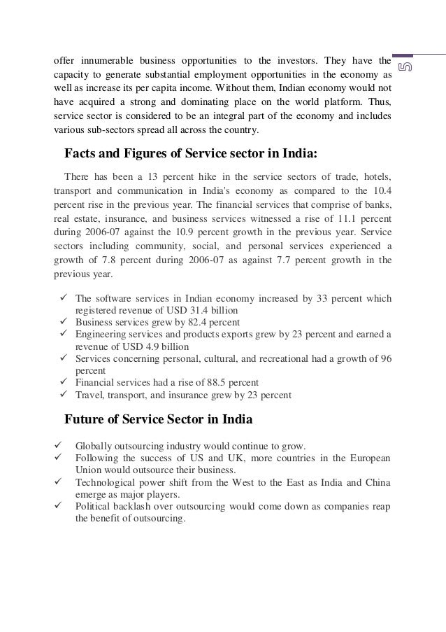 """role of services in indian economy A growth of service sector in india, its share in gdp and its contribution to gdp   """"economic growth and employment generation: the role of the service."""