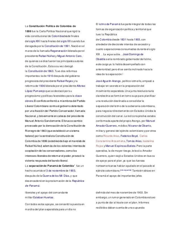 La Constitución Política de Colombia de 1886 fue la Carta Política Nacional que rigió la vida constitucional de Colombiade...