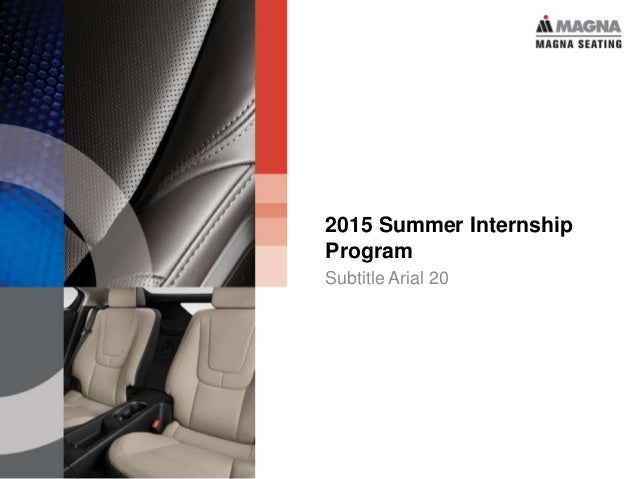 2015 Summer Internship Program Subtitle Arial 20