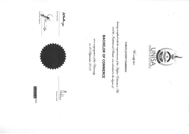 UNISA Degree certificate 2012
