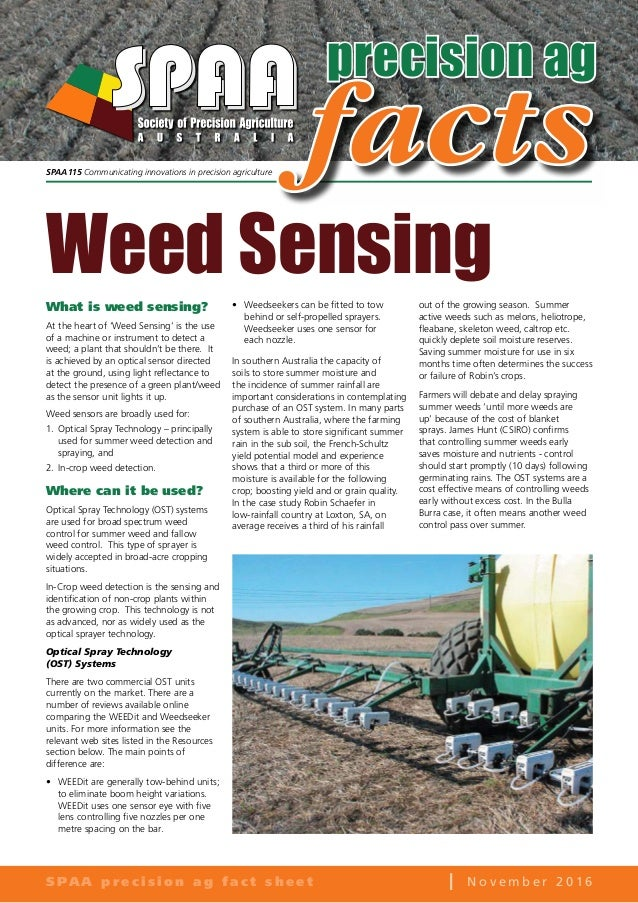 Weed Sensing SPAA Precision Agriculture Factsheet 2016
