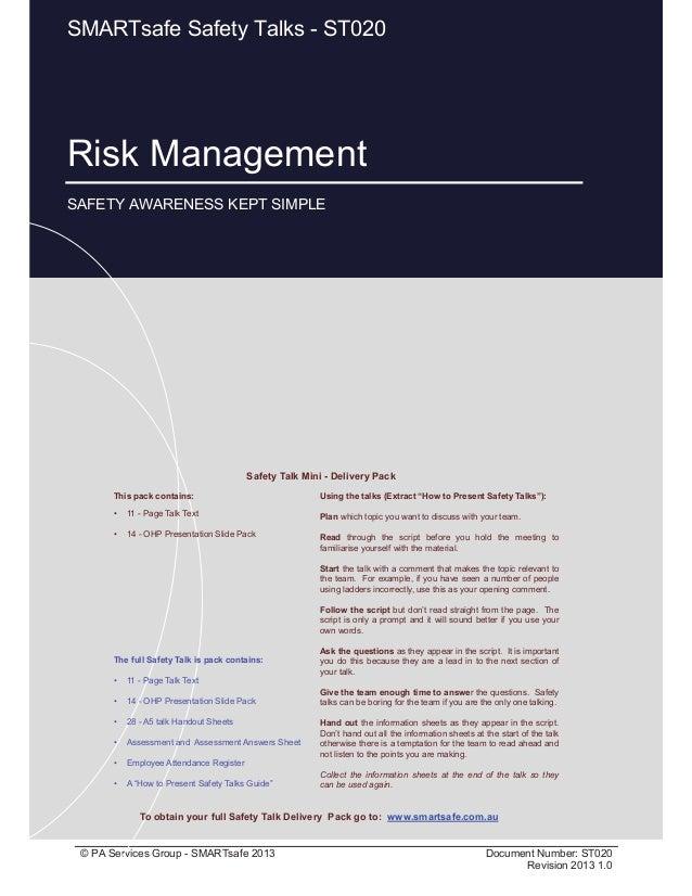 Risk Management Page 1 of 14 © PA Services Group - SMARTsafe 2013 Document Number: ST020 Revision 2013 1.0 Risk Management...