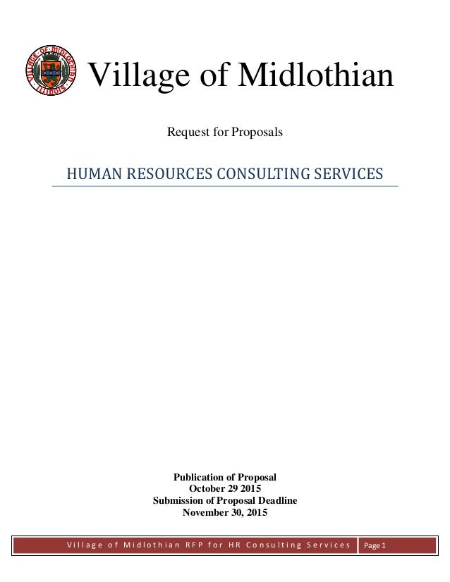 V i l l a g e o f M i d l o t h i a n R F P f o r H R C o n s u l t i n g S e r v i c e s Page 1 Village of Midlothian Req...