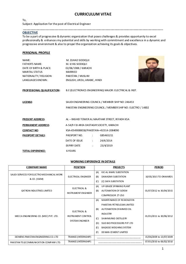 electrical engineer cv pdf