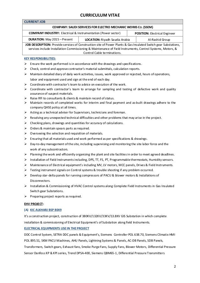 Electrical Engineer cv.PDF