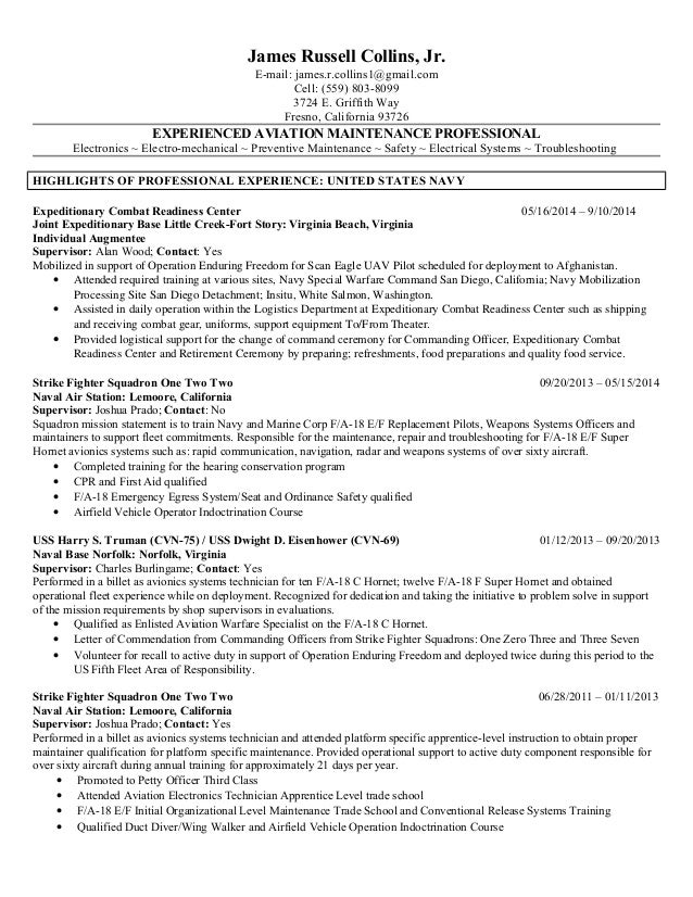 Aviation Resume Examples Avionics And Electrical Maintenance Resume