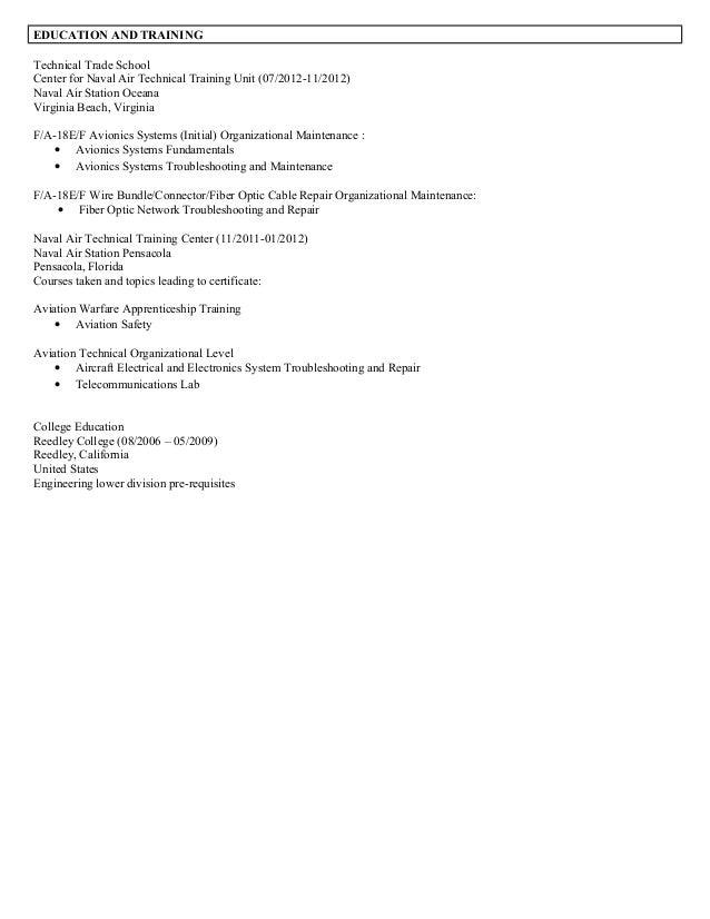 operation indoctrination course 2 - Avionics Resume