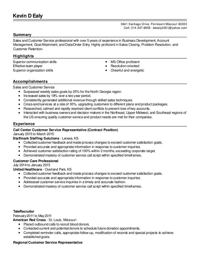 Revised Sales And Customer Service Resume