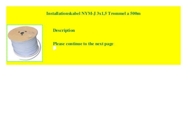 installationskabel nym j 3x1 5 trommel a 500m