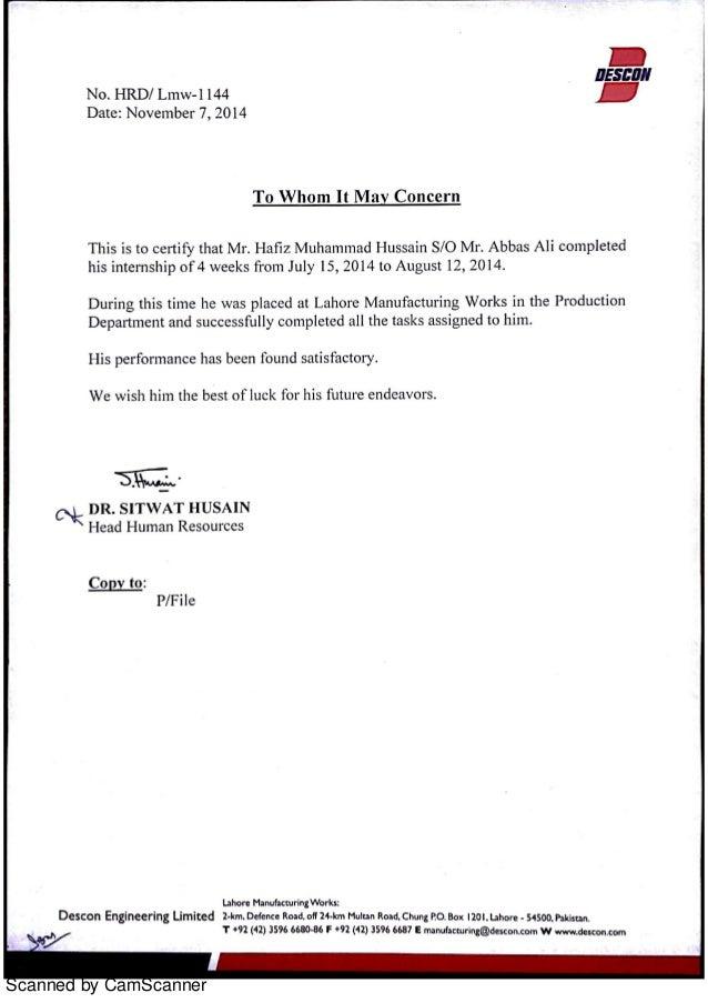 Internship Certificate Descon