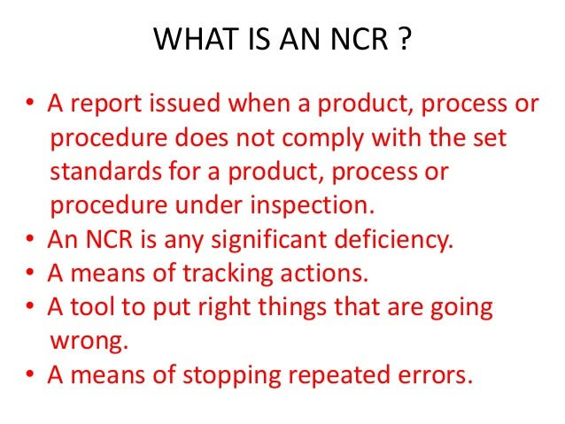 Non Conformance Reporting 1