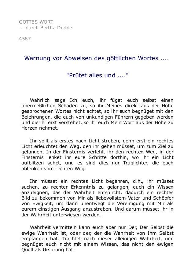 """GOTTES WORT ... durch Bertha Dudde 4587 Warnung vor Abweisen des göttlichen Wortes .... """"Prüfet alles und ...."""" Wahrlich s..."""