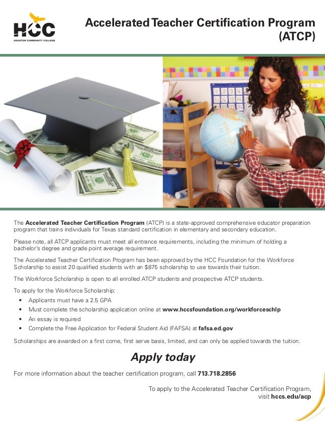 The Accelerated Teacher Certification Program (ATCP) is a state-approved comprehensive educator preparation program that t...